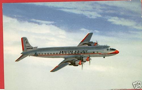 AMERICAN AIRLINES DC-7 AIRPLANE 1953  POSTCARD