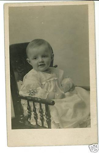 RPPC BABY BOY PRESSED BACK CHAIR STUFFED ANIMAL GILCHER