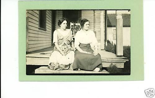 TWO WOMEN ON PORCH REAL PHOTO POSTCARD RPPC