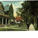 ELYRIA Ohio OH WASHINGTON HOUSES MAN IN HAT POSTCARD