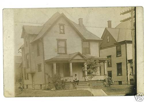 RPPC HOUSE MAN ON STEPS CANTON OHIO OH RP POSTCARD