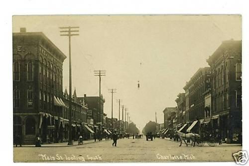RPPC CHARLOTTE MICHIGAN MI MAIN ST BUSINESSES 1909