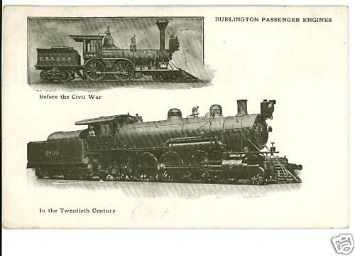 BURLINGTON PASSENGER ENGINES TRAINS POSTCARD 1912