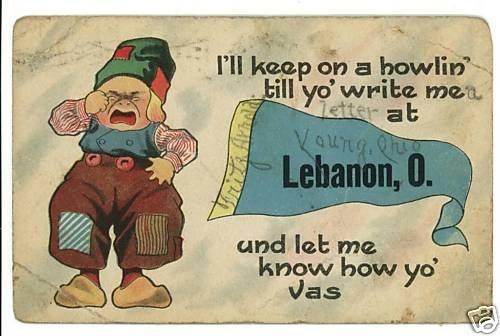 LEBANON OHIO OH DUTCH BOY PENNANT BANNER 1915 POSTCARD