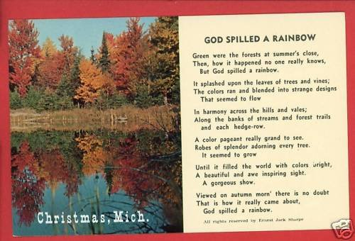 CHRISTMAS MI MICHIGAN GOD SPILLED A RAINBOW  POSTCARD