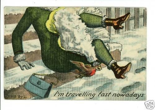 WOMAN SLIPPING ON STEPS INSTALLMENT  1910  POSTCARD