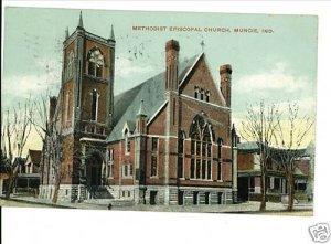 MUNCIE INDIANA IN  ME CHURCH 1909 POSTCARD KNOX