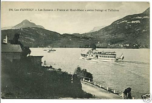 LAC D'ANNECY FRANCE BOAT SHIP LAKE   POSTCARD