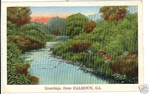 CALHOUN GA GEORGIA GREETINGS FROM 1937  POSTCARD