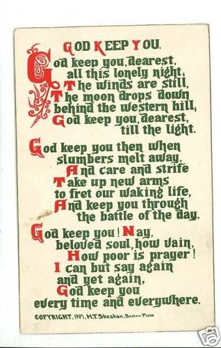 GOD KEEP YOU POEM SHEAHAN 1907 POSTCARD