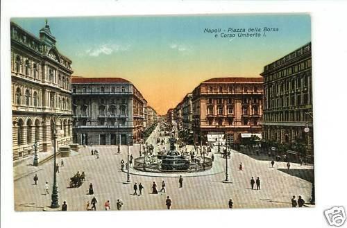 NAPOLI ITALY PIAZZA DELLA BORSA CORSO UMBERTO  POSTCARD