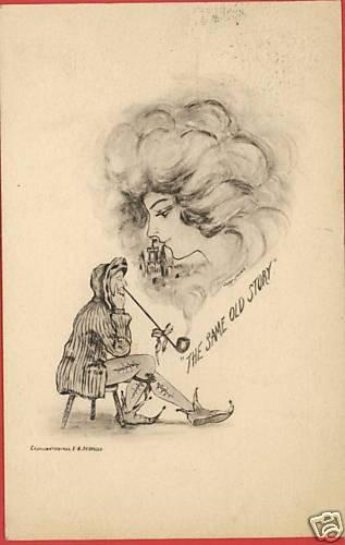 E B SCOFIELD WOMAN SMOKE PIPE COBB SHINN A/S  POSTCARD