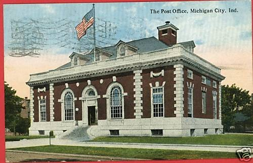 MICHIGAN CITY INDIANA POST OFFICE 1919 LEUSCH  POSTCARD