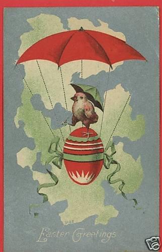 EASTER CHICK UMBRELLA PARACHUTE RED EGG 1910 POSTCARD