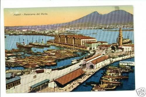 NAPOLI ITALY PANORAMA  DEL PORTO SHIPS TRAIN  POSTCARD