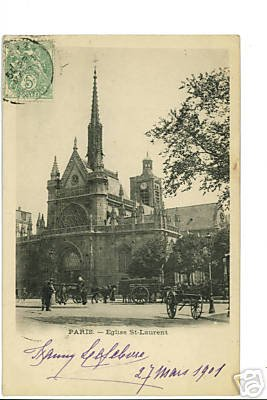 Paris FRANCE Eglise St-Laurent '01 PRIVATE MAILING CARD