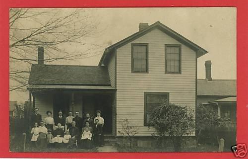 RPPC FAMILY OUTSIDE HOUSE EVENS 1908  RP POSTCARD