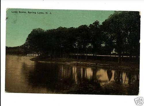 SPRING LAKE NEW JERSEY NJ LAKE SCENE 1917 POSTCARD