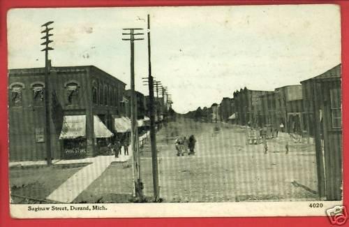 DURAND MI MICHIGAN SAGINAW ST DRUG STORE 1913  POSTCARD