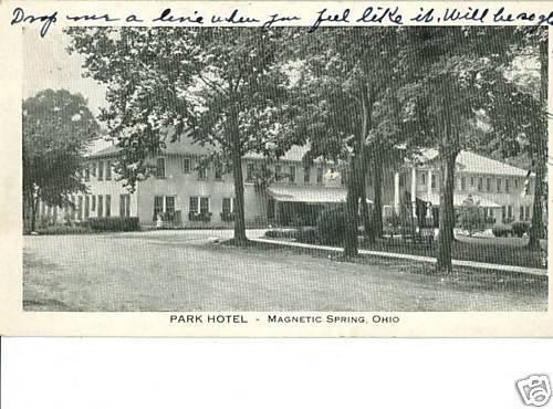 MAGNETIC SPRINGS OHIO OH PARK HOTEL 1935  POSTCARD