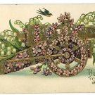 CANNON FLOWERS BLUE BIRDS BEST WISHES POSTCARD