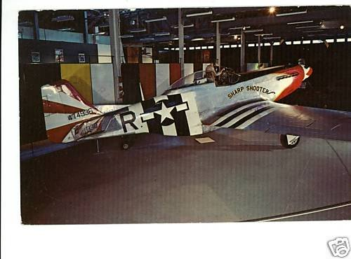 P-51D MUSTANG WWII AIRPLANE AIR FORCE MUSEUM POSTCARD