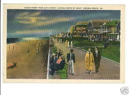 VIRGINIA BEACH VA   24TH STREET AT NIGHT  1938 POSTCARD