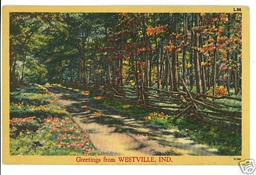 WESTVILLE INDIANA IN GREETINGS FROM 1949 POSTCARD