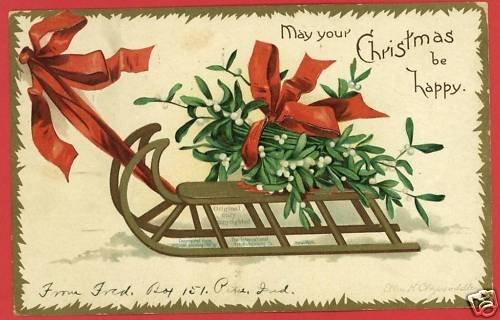 CHRISTMAS SLEIGH CLAPSADDLE ARTIST SIGNED 1907 POSTCARD
