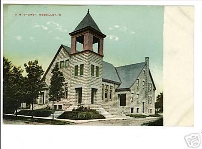 MASSILLON OHIO OH U.B. CHURCH VINTAGE POSTCARD