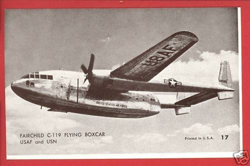 FAIRCHILD C-119 FLYING BOXCAR USAF AIRPLANE POSTCARD