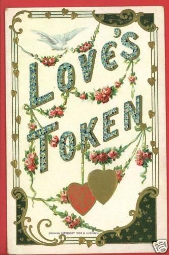 LOVE'S TOKEN HEARTS DOVES  1909 B. HOFMANN POSTCARD
