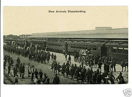 MILITARY TRAIN SOLDIERS HORSES BICYCLE POSTCARD
