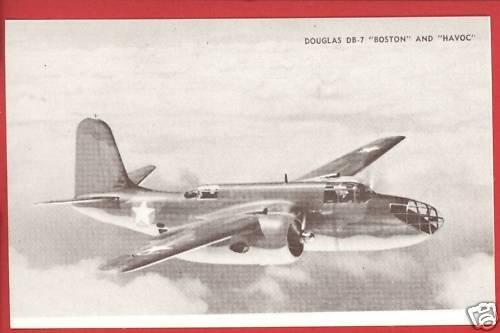 DOUGLAS DB-7 BOSTON HAVOC AIRPLANE  POSTCARD