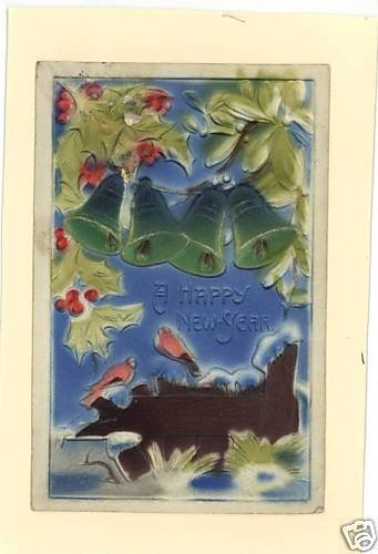HAPPY NEW YEAR BELLS BIRDS FENCE EMBOSSED 1908