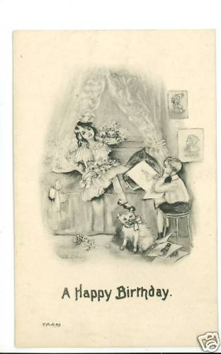 BIRTHDAY BOY GIRL CAT WILLIAMS ARTIST SIGNED  POSTCARD