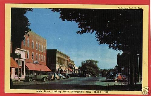 MONROEVILLE OHIO OH  MAIN STREET CARS BUSINESS POSTCARD