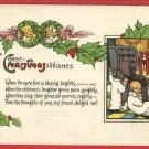CHRISTMAS WISHES CHILDREN FIREPLACE SAS 1913  POSTCARD