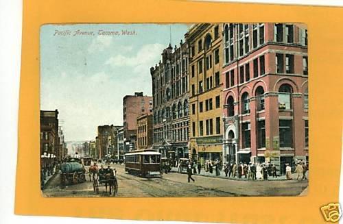 TACOMA WASHINGTON PACIFIC AVENUE STREETCAR STORES 1909
