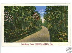 GREENCASTLE PENNSYLVANIA GREETINGS FROM 1935 POSTCARD