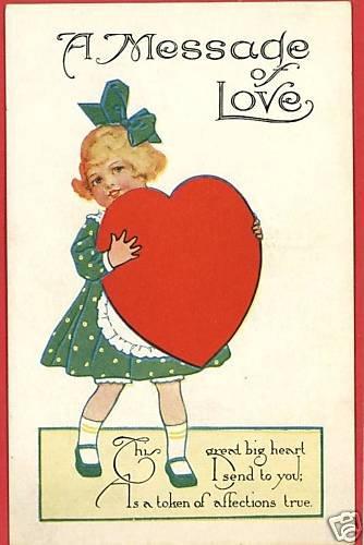 MESSAGE O LOVE VALENTINE'S DAY GIRL HUGE HEART POSTCARD