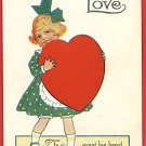 MESSAGE O LOVE VALENTINE'S DAY GIRL HUGE HEART POSTCARD
