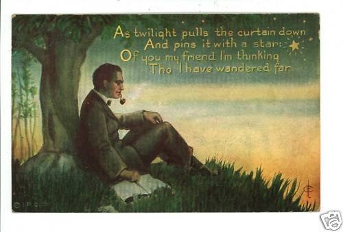 MAN PIPE STAR TWILIGHT BOOK IPC MESSAGE SERIES POSTCARD