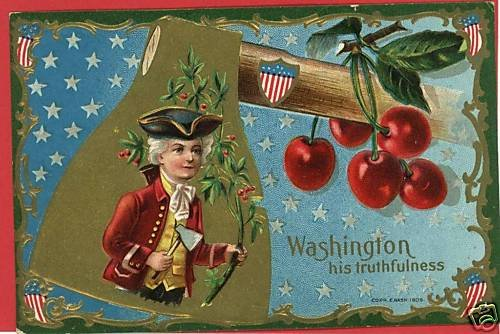 PRESIDENT WASHINGTON AXE CHERRIES E NASH 1909 POSTCARD