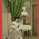 WOMAN WAITING TABLE LACE SCREEN DRAPES BUST  POSTCARD