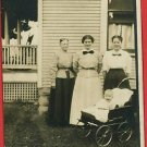 RPPC 3 WOMEN AND BABY IN BUGGY HOUSE RP POSTCARD