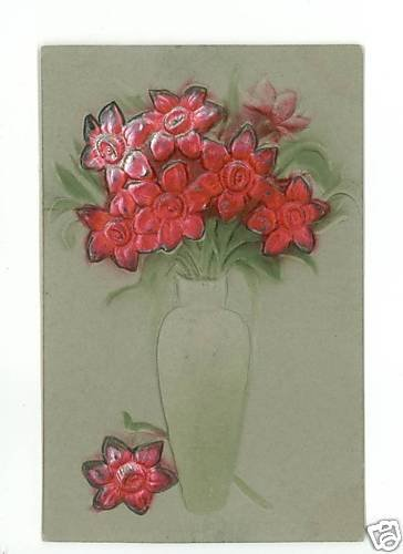 VASE OF FLOWERS DEEPLY EMBOSSED VINTAGE  POSTCARD