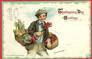 F BRUNDAGE THANKSGIVING GREETINGS A/S 1912  POSTCARD