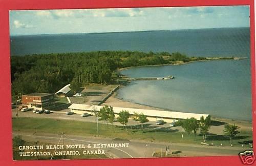 THESSALON CANADA CAROLYN BEACH MOTEL RESTARNT. POSTCARD