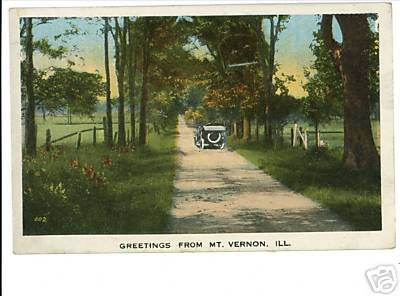 MT VERNON ILLINOIS GREETINGS FROM CAR DIRT ROAD PSTCARD